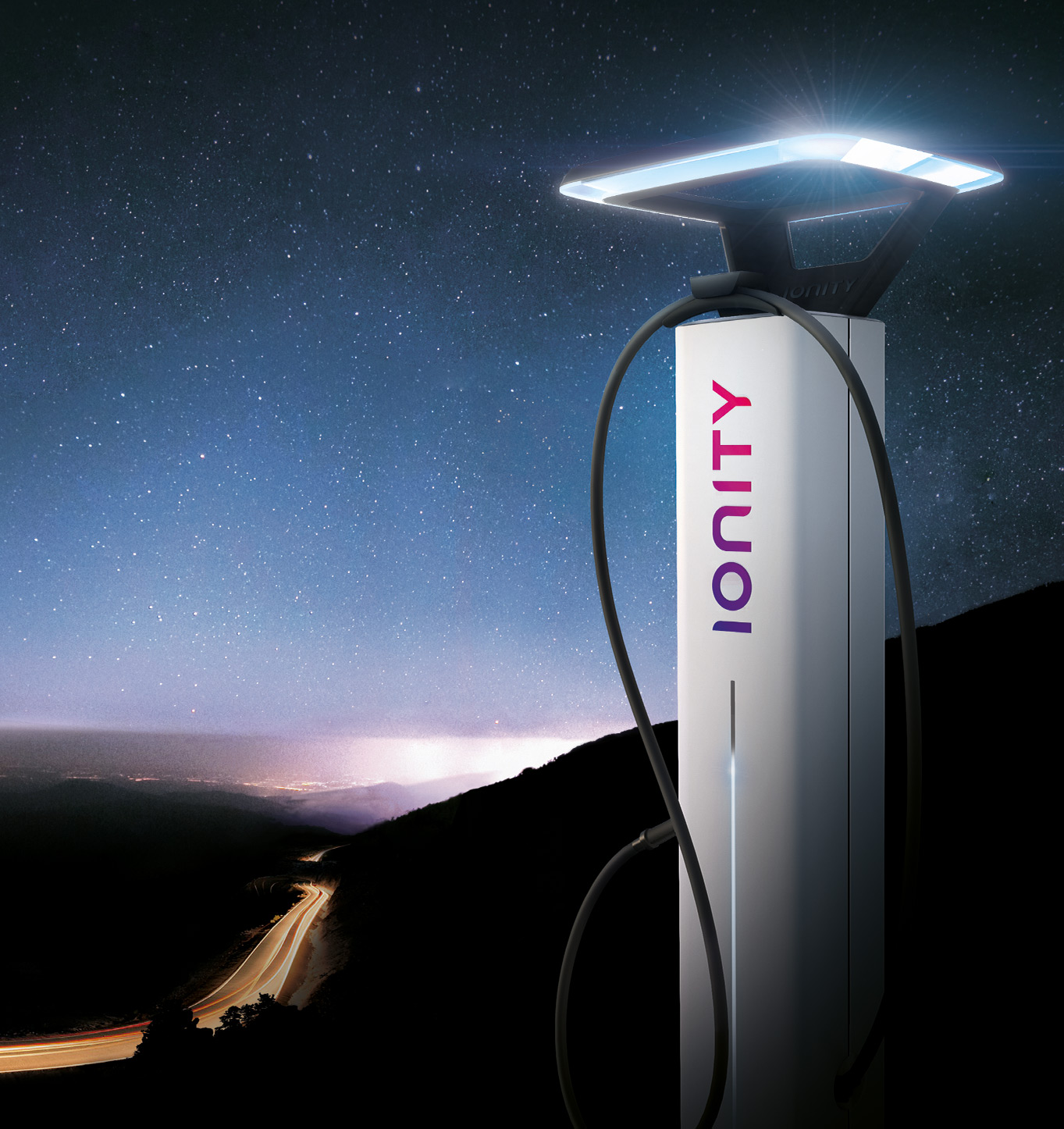 ionity electric vehicle charger by night