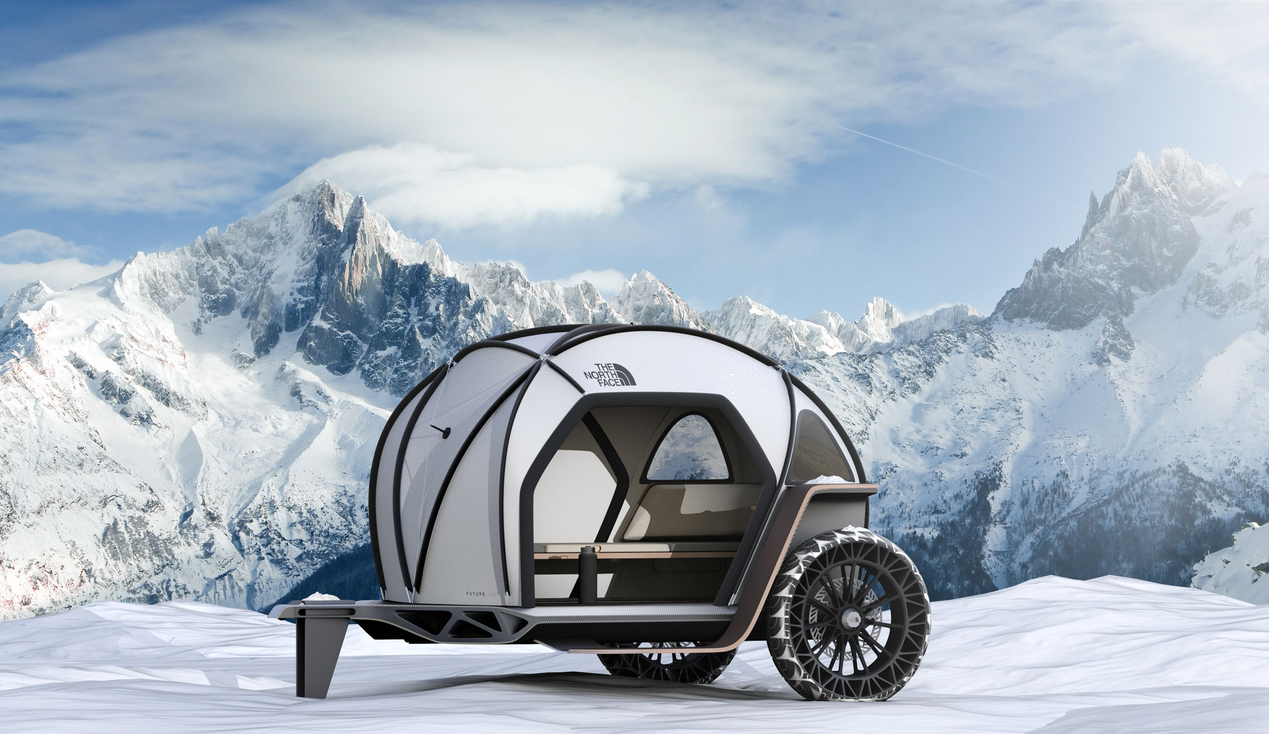 the north face camper in snowy mountains