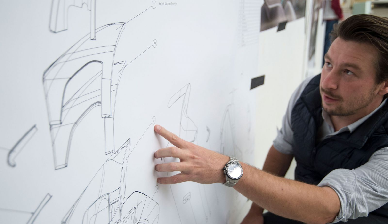 daniel hahn in front of sketches