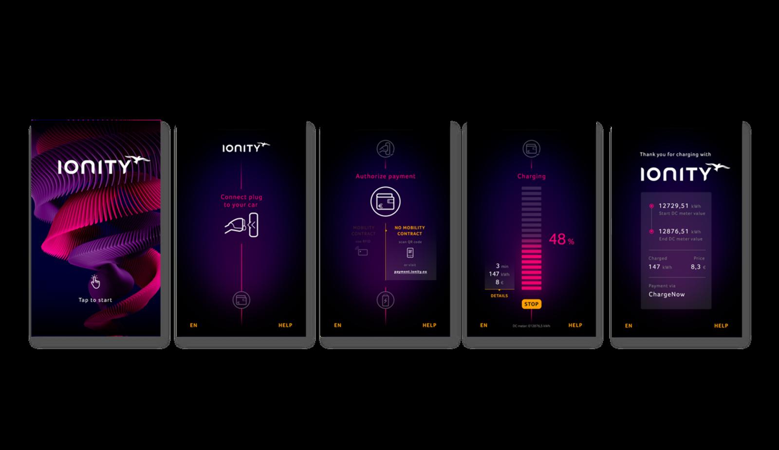 ionity charging station display screenshots