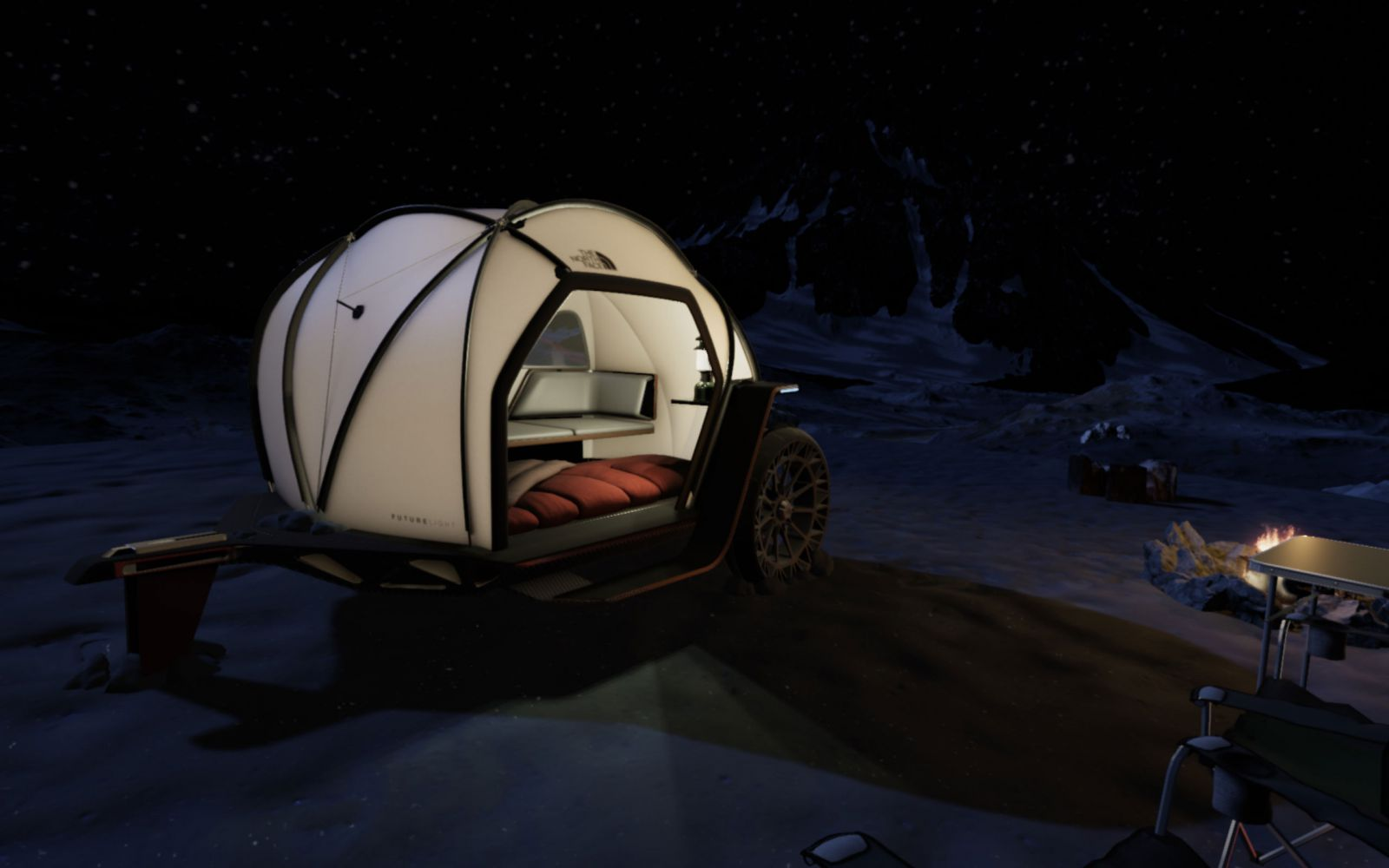 the north face camper by night